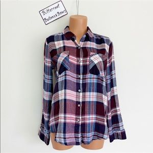 NWT Lucky Brand Pink Blue Purple Plaid Button Down